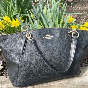 Coach Kelsey Pebbled Small Satchel Black Bag
